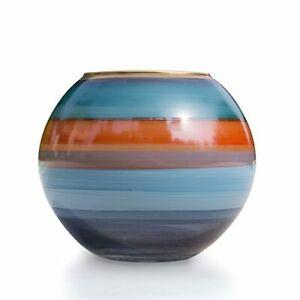Glass Ball Vase (Blue/Orange)
