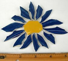 Large Cobalt Blue Aster Daisy Mosaic Tile - Broken Cut China Plate Tiles
