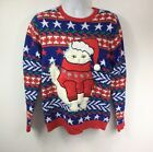 Jolly Sweaters Ugly Christmas Sweater Men's Size M Santa 3D Cat Fuzzy