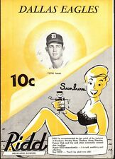 RARE 1951 DALLAS EAGLES vs FORT WORTH CATS Baseball Program/Scorecard