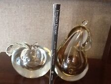 Mid-century Barbini or Cenedese Style Murano Glass Fruit Bookends Apple and Pear