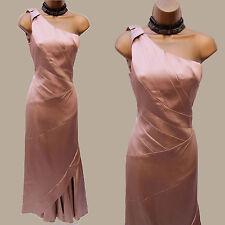 10 UK Karen Millen Champagne Gold Satin One Shoulder Evening Ballgown Maxi Dress