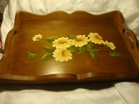 Vtg Hand-Painted Wooden Decorative Serving Tray Floral Daisies w/Handles     410