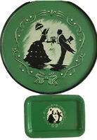 Vintage Metal Serving Tray Set, Silhouettes Of Victorian Couple, Green