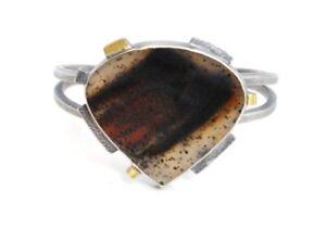 XaosartSasik Montana Agate Cuff Bracelet Sterling 18k Gold $450