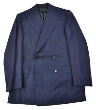NWT BELVEST Navy Orange Dot STripe Super 150's Flannel Double Breasted Suit 40 i