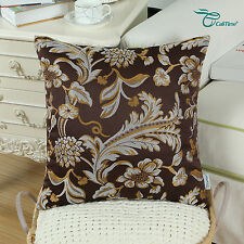 Set of 2 Coffee Cushion Covers Pillows Case Jacquard Florals Home Decor 50x50cm