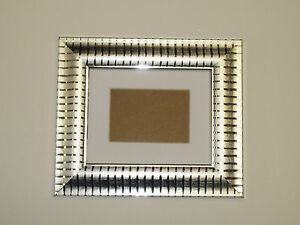 Two Tone Silver 5x7 Picture Photo Frame  Mount 3x5 Hang