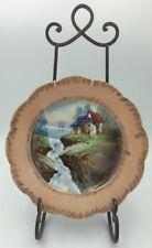 A Lanternier Limoges France Porcelain Plate Scalloped Gilt Rare Pastoral Scene