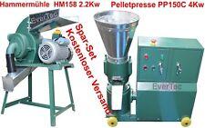 Pelletpresse PP150C 4KW & Hammermühle HM158 2.2KW Holz & Tier Pellet Set