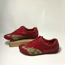 Coach Kodie Sneakers Casual Shoes A1390 Low Top Lace Up Leather Red Womens 7.5 M