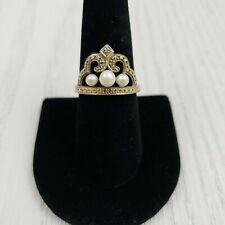 Sterling Silver Genuine Diamond & Pearl Crown Ring Tiara .925 Signed R Tested