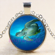 Underwater Green Sea Turtle Glass Cabochon Silver Pendant Chain Necklace + Gift