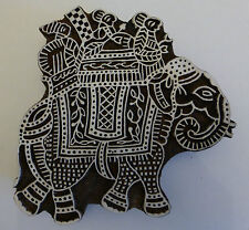 Elephant Right Facing Shaped 16cm Indian Hand Carved Wooden Printing Block (EL6)
