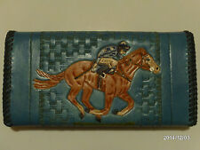 HAND CARVED LADIES RACE HORSETHOROUGHBRED EQUESTRIAN PURSE AW LEATHER GOODS