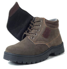 Men's Suede Lace Up Ankle Boots Steel Round Toe Bootie Welding Work Safety Shoes