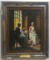19thC Antique oil French painting Women seamstresses Pauline VALLAYER-MOUTET