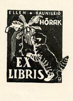 Cat,  Ex libris Bookplate by V. Tonisson, Estonia