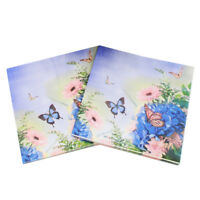 20x serviettes en papier fleurs violettes papillon papil IY
