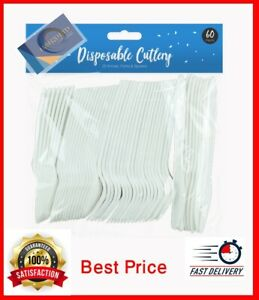 * 60 Plastic Cutlery Set White Strong Disposable Fork Spoon Knife Wedding Party