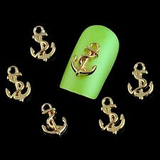 10 x 3D Gold Alloy Nail Art Anchor Charm Decorations FREE P&P (N3)
