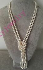 Genuine cultured 6-7mm white fresh water pearl wedding long necklace 72 inch