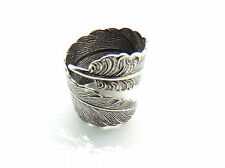 CLOSEOUT SALE Antique Silver Open FEATHER RING - Finger Wrap Boho Gypsy Ring -