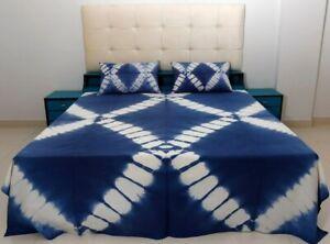 Shibori Tie Dye Bedding Set Indigo Bedspread Queen Bed Cover With 2 Pillow Cases