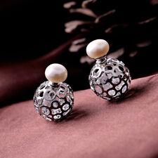 Pendiente`Orejas Doble Perla Cultivada Blanco Plano, liso 8-9mm Cristal Inte