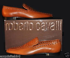 $1,075 New ROBERTO CAVALLI Cognac Leather Loafer Shoes 43.5 - 10.5