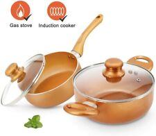 4pcs Cookware Set Pot and Pan Set Non-stick Frying Pans Set Ceramic Coating Soup