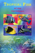 St Kitts 2015 MNH Tropical Fish Caribbean Angelfish Parrotfish 4v M/S II Stamps