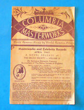 COLUMBIA MASTERWORKS AND CELEBRITY RECORDS April 1937 - Catalog