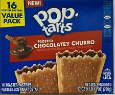 NEW KELLOGGS POP TARTS FROSTED CHOCOLATEY CHURRO 27 OZ BOX 16 TOASTER PASTRIES
