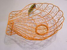 Large Orange Woven Shell Beach Basket Outside Picnic Party Rv Organizer Spring