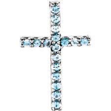 Genuine Aquamarine Petite Cross Pendant In Platinum