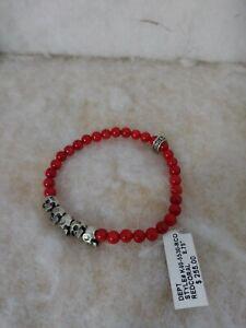 King Baby Studio Silver Bridge Skull Red Coral Beaded Men Bracelet