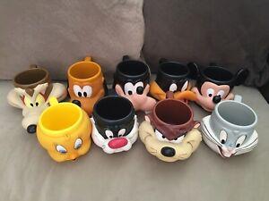 Vintage 9 X LOONEY TUNES DISNEY CUPS MUGS KFC 1992 Tweety Mickey Bugs Goofy Taz