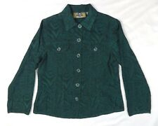 Authentic Shaver Lake Womens Petite Medium Green Floral Textured Blazer Jacket