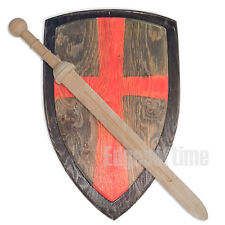 WOODEN DEFENDER SOLDIER SHIELD & WOODEN ROMAN GLADIATOR SWORD ROLE PLAY TOY