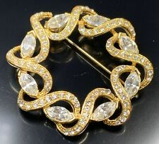 "Vintage Brooch Pin 2"" Gold Tone Reef Crystal Marquise Rhinestones"