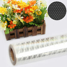 100MX80CM WHITE DOT CELLOPHANE ROLL FLORIST PLAIN WRAP GIFT HAMPER WRAP CRAFT