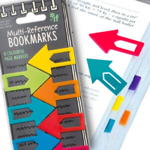 8 RAINBOW ARROW BOOKMARK Office Kid School Stationery Clip Reference Page Marker
