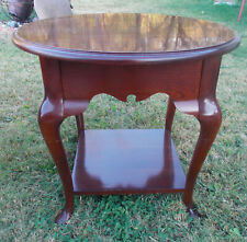Solid Cherry Round Mid Century End Table / Side Table