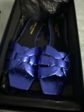 New Saint Laurent Supercrack Blue Slide Sandals 37 (6.5)