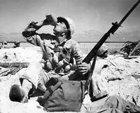 WW2 Photo WWII US Marine Drinks from Canteen on Tarawa M1 Garand Grenades / 1221