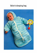 Baby Sleeping Bag With Hood Knitting Pattern in Chunky Weight Wool #0018