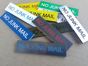 No Junk Mail Sign for Mailbox Letter Box - 30 Colours & 7 Small and Medium Sizes