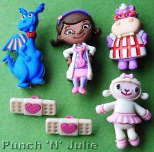 DOC McSTUFFINS - Disney Lambie Stuffy Hallie Doctor Dragon Hippo Craft Buttons