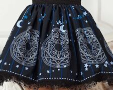 Cosplay Gothic Lolita Magician Wizard Moon and Stars Print Skirt with lace